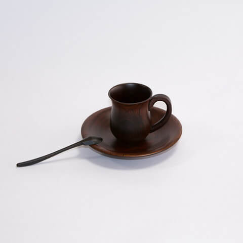 カップ(取手付) ケヤキデミタスカップ ソーサーセット