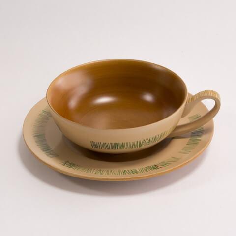 ソーサーカップセット グラスグリーン